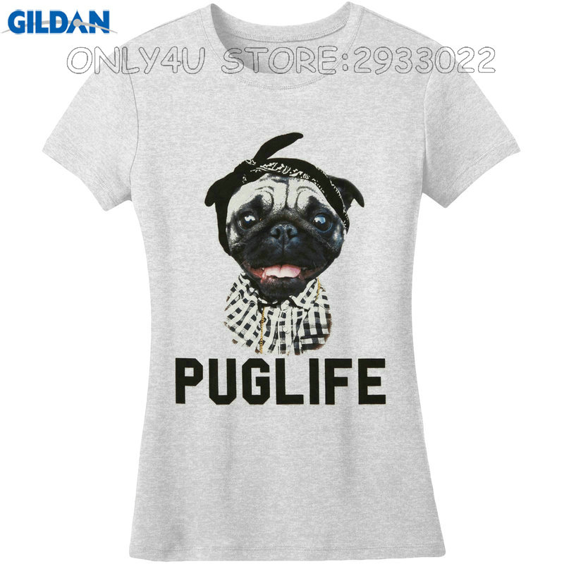Gildan Female Print T Shirt Hipster Crew Neck Short Puglife With Pug Wearing Flannel Bandana O-Neck Womens Tee
