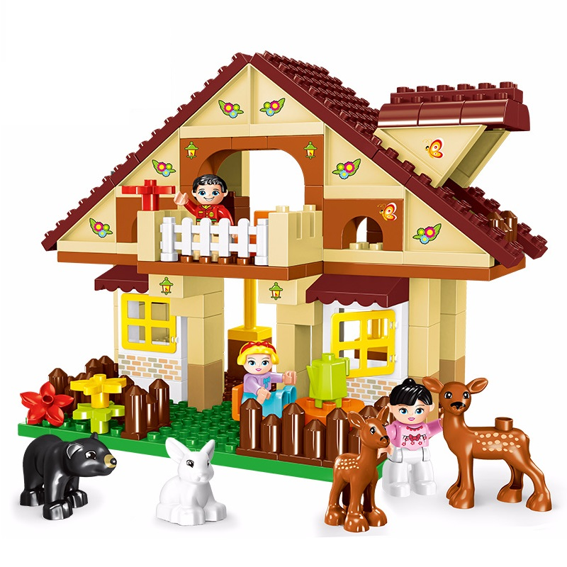 big Particles model Building Blocks forest paradise house sets children Toys diy city Bricks Compatible With Duplo birthday Gift qwz 39 65pcs farm animals paradise model car large particles building blocks large size diy bricks toys compatible with duplo