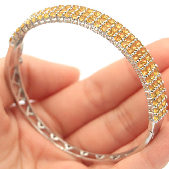 SheCrown 14.1g Golden Citrine Womans Gift 925 Silver Bangle Bracelet 7.5 67x9mmSheCrown 14.1g Golden Citrine Womans Gift 925 Silver Bangle Bracelet 7.5 67x9mm