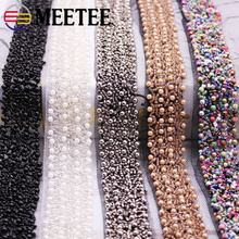 1Pack(2yards) 3cm Pearl Beaded Lace Trim Mesh Sequins  Ribbon Fabric Weding Dress Collar Sleeve Applique DIY Crafts