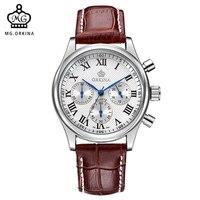 MG. ORKINA Quartz watch Stainless Steel Case Leather Band Japan MIYOTA JS20 Movement Chronograph Men Wrist Watch Clock Men