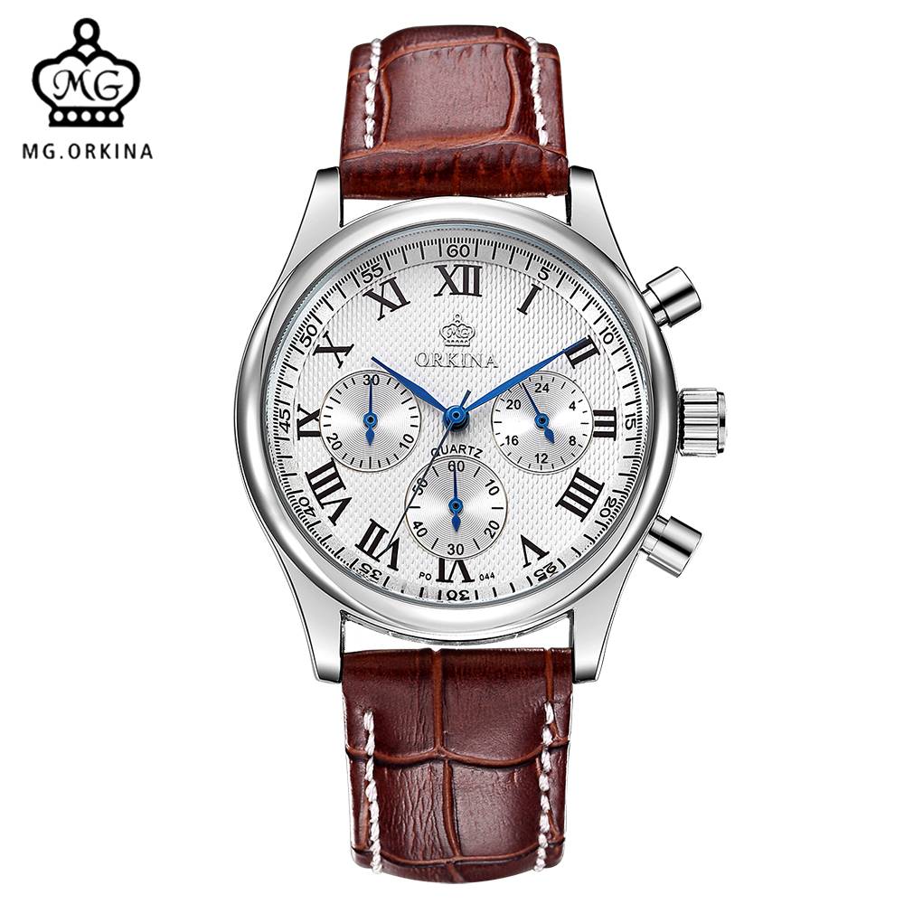 MG. ORKINA Quartz-watch Stainless Steel Case Leather Band Japan MIYOTA JS20 Movement Chronograph Men Wrist Watch Clock Men купить недорого в Москве