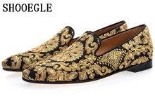 SHOOEGLE  Zapatos Hombre New Men Black Blue Footwear Handmade Golden Embroidery Loafers Man Slip On Flats Mens Dress Shoes