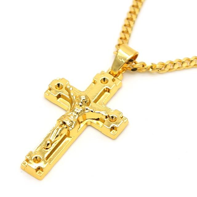 Gold Plated Jesus cross pendants High Quality Fashion Hiphop franco 70cm long necklaces golden Chain for men bijouterie new