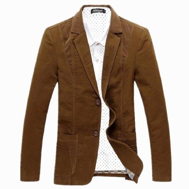 M-8xl nuevo Slim Fit Cotton Jacket Casual hombres chaqueta de la chaqueta de un solo botón gris del juego del Mens Jacket 2016 remiendo abrigo para hombre Suite