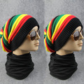 Wholesale new style 2017 popular rainbow knitted winter hat for women and men cool style for christmas