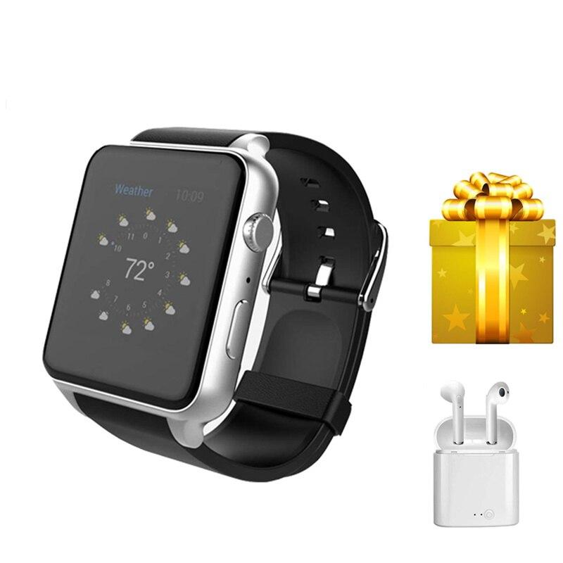Sports Android SmartWatch Heart Rate monitor Bluetooth Waterproof Men Clock Smart watch+earphone men's watch