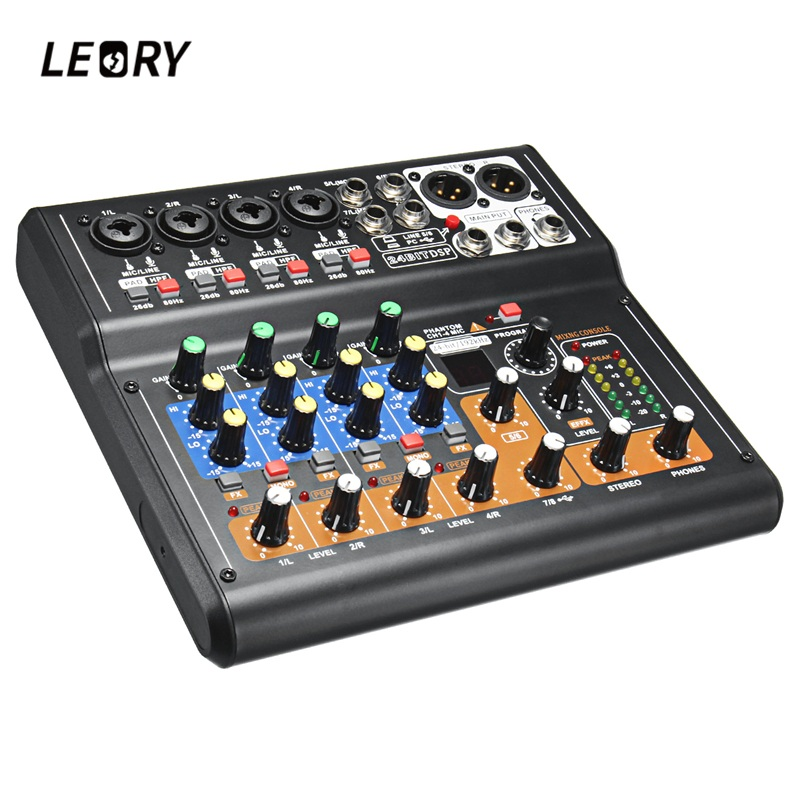 LEORY Professional 8 Channels Audio Mixing Console Mini USB Digital DJ Mixer With PAD Switches DSP Effect For Karaoke PC Meeting ymh pointsen mg12xu 12channel mixing console 12 input ktv band effect professional mesa audio mixer karaoke mg12xu