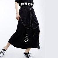 ARANSUE Summer New 2019 Women Korean skirts Irregular Cracked Loin Skirt Zipper falda with hold jupe