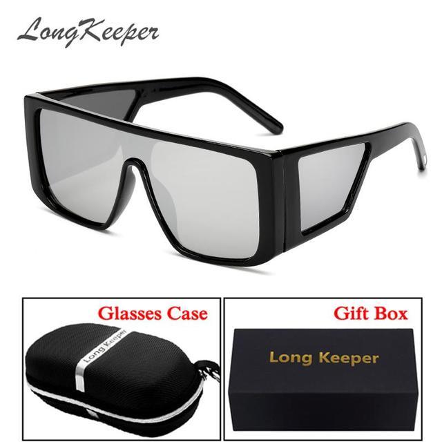 fe0ef73e2b6e40 LongKeeper Espelho Steampunk Óculos De Sol Dos Homens de Moda Oversize  óculos Vidro Quadrado Masculino Oculos Gafas Eyeweat UV400 com Caixa  Presente Caso