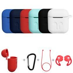 3in1 couvercle de boitier en silicone anti-dérapant pochette pour écouteurs peau de protection Anti-perte de fil écouteurs sans fil étui pour écouteurs pour Apple AirPods