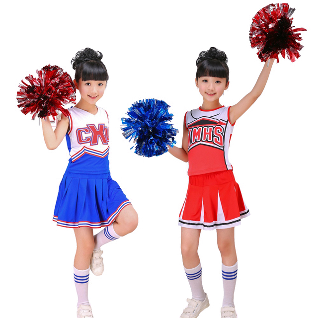 Girls Red & Blue Cheerleader Costume Cheer Outfit Uniform with Pom Poms Socks Set Fits 3 15Yrs Clothes Dress