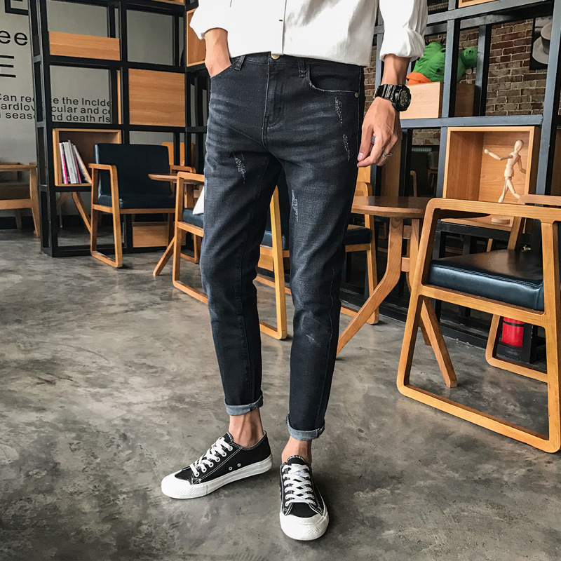 Fashion casual mens vintage black ripped jeans trousers slim fit ankle-length mid waist scratched elastic denim pants for men new brand 2017 mens skinny jeans mid waist male trousers patchwork cotton men s denim slim pants fashion ripped jeans for men
