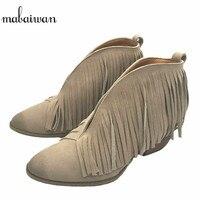 Mabaiwan Neue Mode Wildleder frauen Schuhe Schwarz Fringe Stiefeletten Slip On Winter Herbst Frauen Stiefel Quasten Zapatos Mujer stiefel