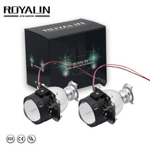 ROYALIN Car H1 Bi xenon HID Bulbs Mini Projector Headlamps Lens H4 H7 2.0 inch 12V Auto Motorcycle Headlights Retrofit Styling retrofit headlights cover 2 5for h1 mini projector lens silver gatling gun shroud [qp379]