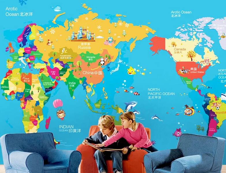 World Map 3D Photo Murals for Kids Room Personalized Wallpaper     World Map 3D Photo Murals for Kids Room Personalized Wallpaper Cartoon  Children Child Living Room papel de parede Blue in Wallpapers from Home  Improvement