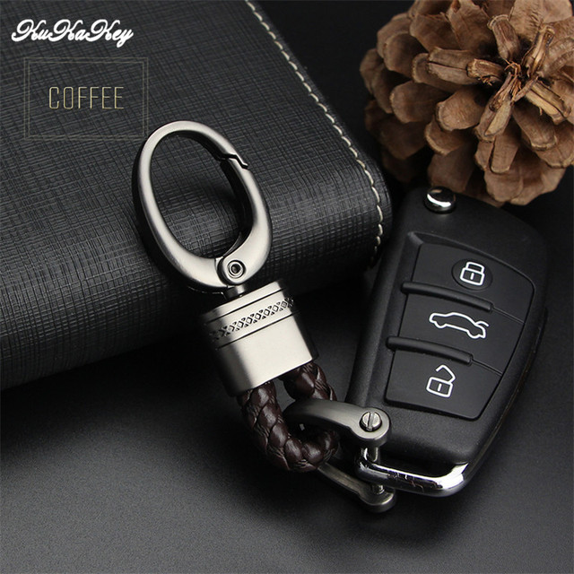 KUKAKEY Hand Woven Horseshoe Buckle Car Keychain Keyring Auto Car Key Chain Rings Holder For Audi BMW Benz Mazda Toyota Renault