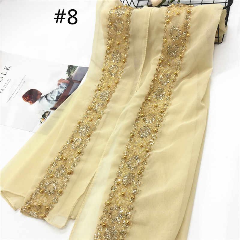 1 Uds moda hi-q lujo bufanda mujer chal liso gasa sólida con encaje perlas bandana fulard hijab envolturas musulmanas gran oferta