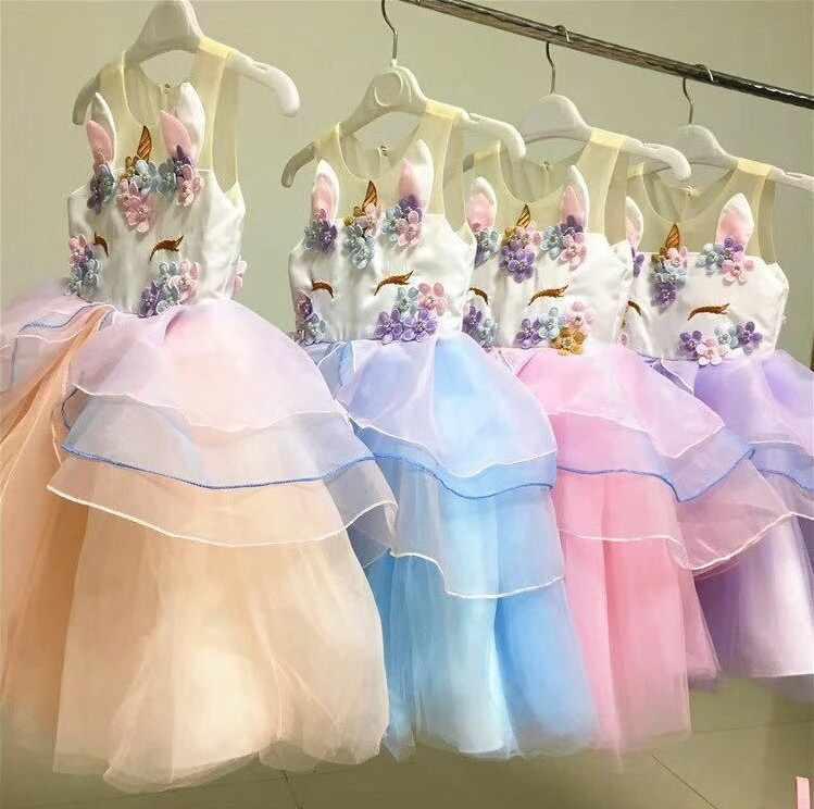 2018 venta al por menor caliente bebé niñas unicornio rebordear Floral malla princesa tutú vestidos niños Cosplay flor perla fiesta vestido Niñas Ropa