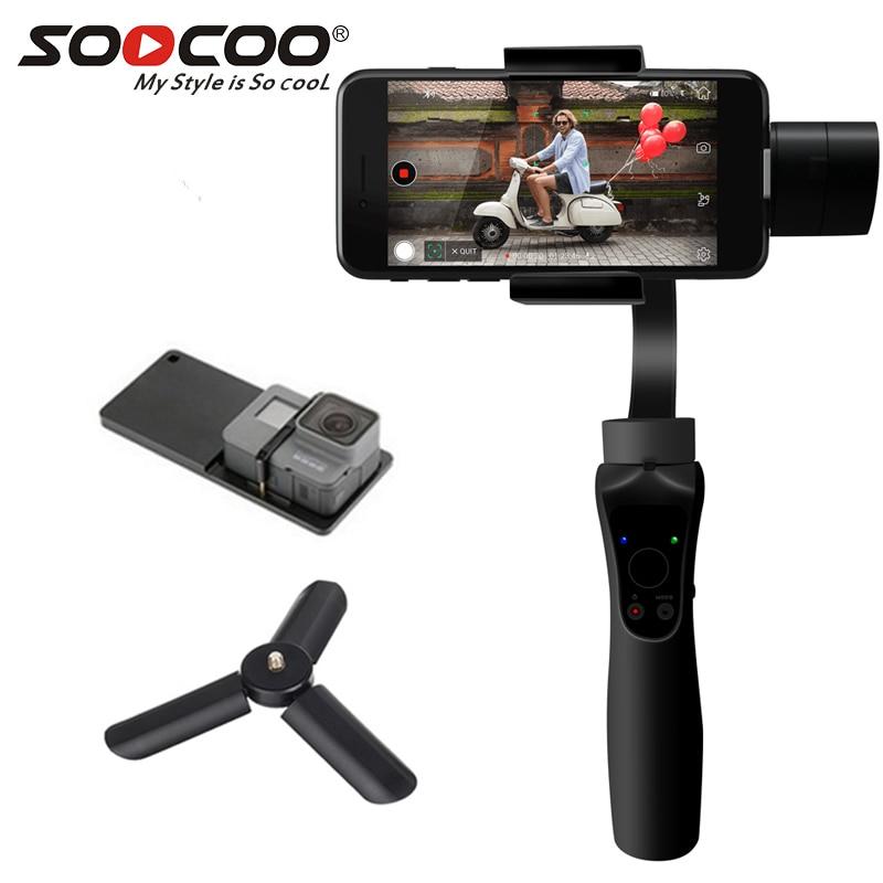 SOOCOO Cardan Stable Plate-Forme 3-Axes Stabilisés De Poche Cardan Extension Mobile Téléphone Vidéo Stabilisateur Soutien Visage Photographie