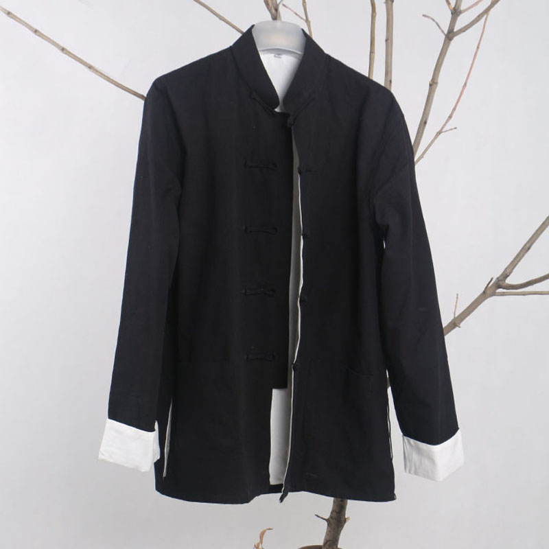 Men's Casual double deck Jacket Autumn Winter Kung Fu Coat Traditional Chinese Tang Suit Coat Tai Chi Uniform Cotton Tops