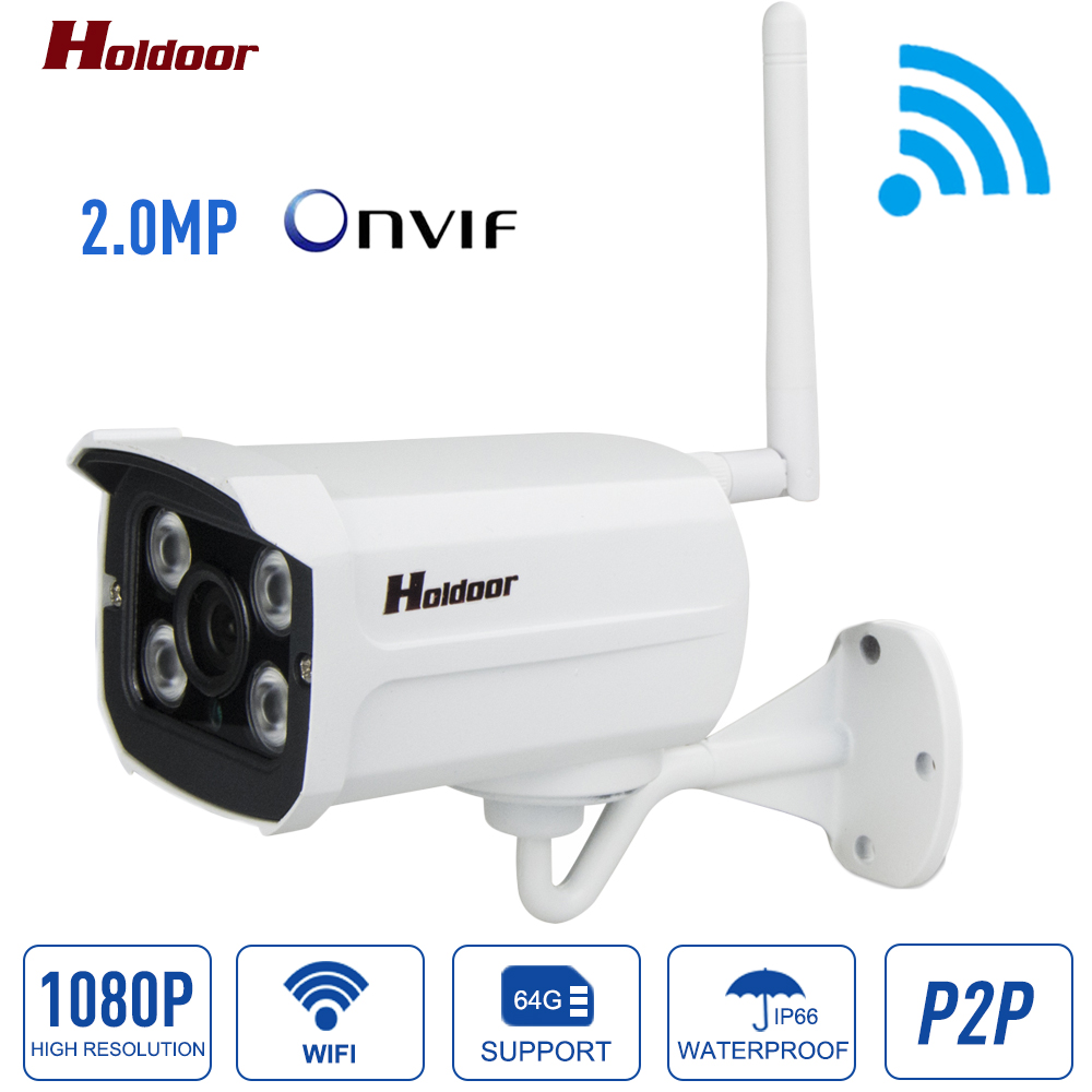 Wireless 1080P HD IP Camera WIFI Onvif 2.0.4 P2P for Smartphone Waterproof IP66 Support 64G Micro SD Card 20m IR Outdoor IP Cam household bullet ir hd 1080p ip camera wifi p2p onvif waterproof camera support sd card