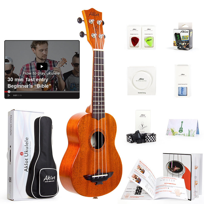 Aklot Solid Mahogany Tenor Ukulele Starter Kit Soprano Concert Ukelele Uke Hawaii Guitar 23 Inch 12 fret 1:18 Copper Tuner 26 inchtenor ukulele guitar handcraft made of mahogany samll stringed guitarra ukelele hawaii uke musical instrument free bag