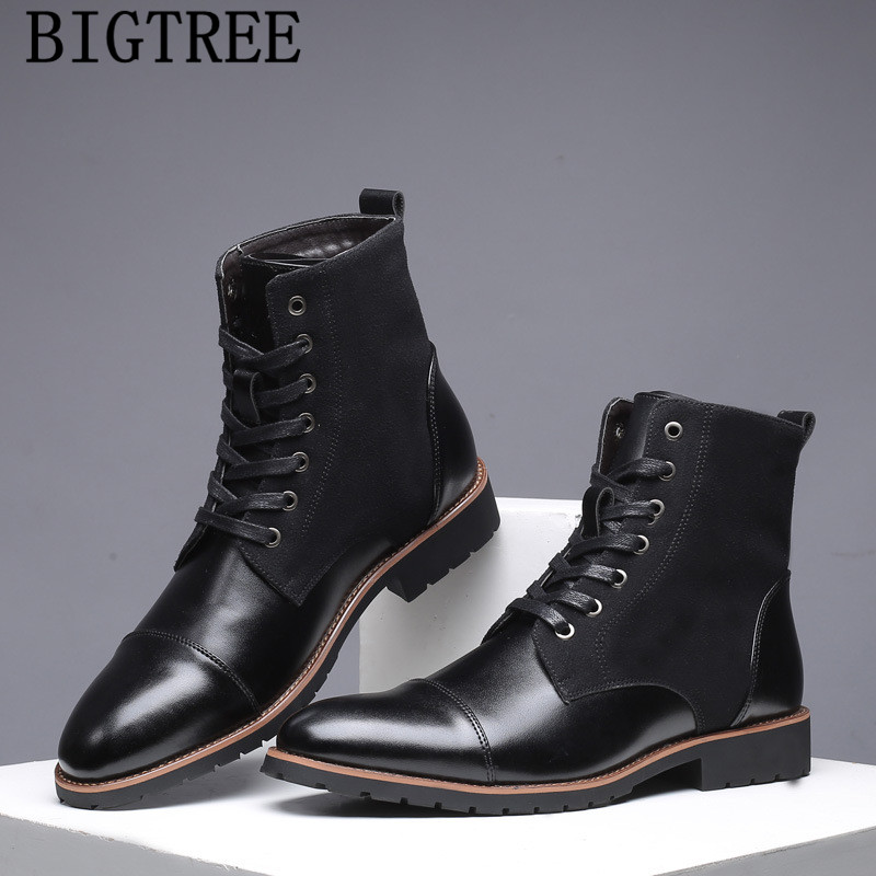 Mens Dress Boots Leather Motorcycle Boots Retro Chelsea Boots Men Shoes Outdoors Ankle Boots Chaussure Homme Schoenen Ayakkabi