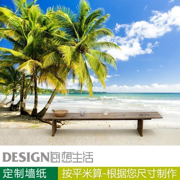 Large Mural Beach Seaside Scenery 3d Wallpaper For Bedroom Living