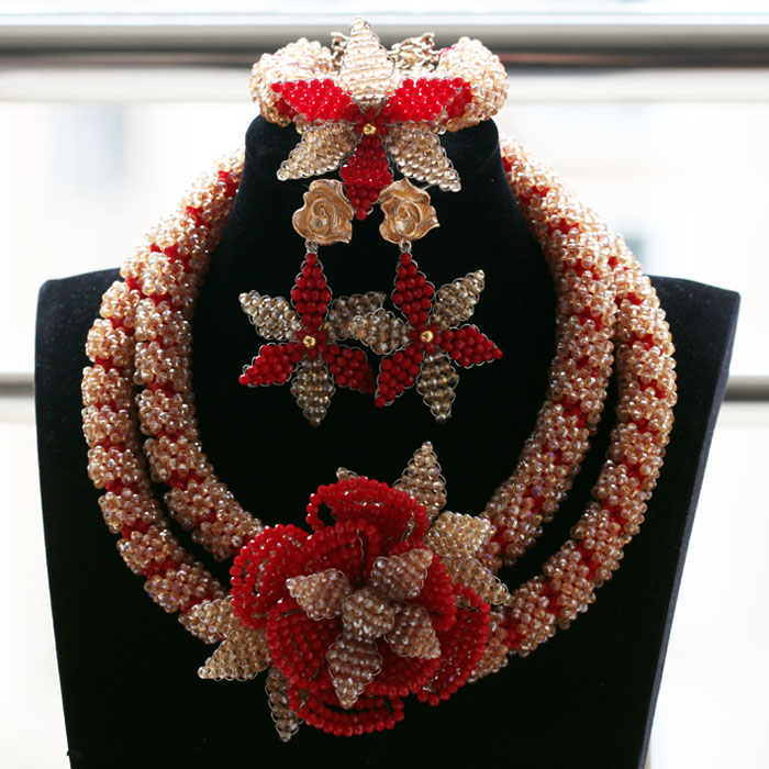 2017 Fantastic Gold and Red Crystal Flowers Jewelry Sets African Beads Bridal Wedding Jewelry Necklace Set Free ShippingABH4912017 Fantastic Gold and Red Crystal Flowers Jewelry Sets African Beads Bridal Wedding Jewelry Necklace Set Free ShippingABH491