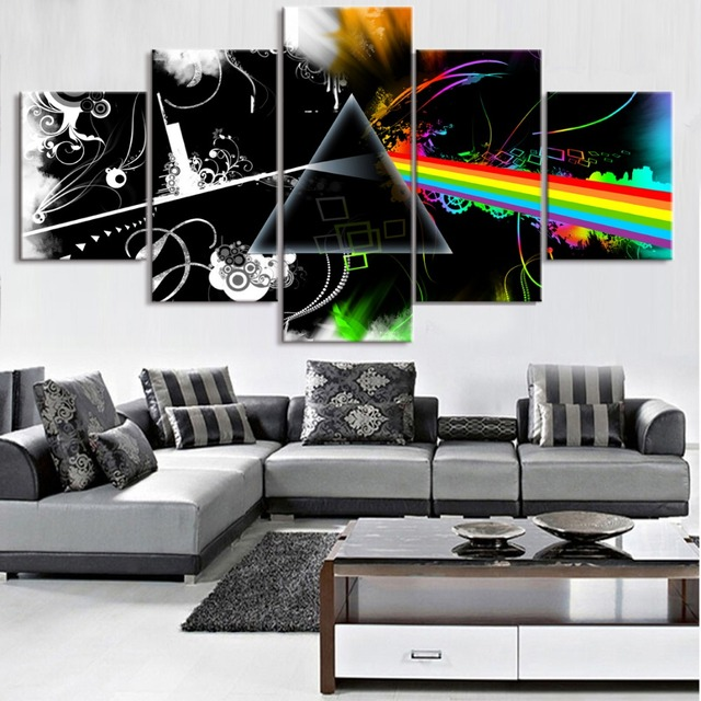 5 Piece Canvas Art Pink Floyd Print Picture Poster Cuadros Landscape Canvas  Wall Art Home Decor