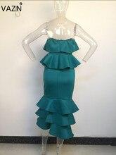 VAZN 2018 New Arrival Fashion Bandage Women Long Dress Sexy Strapless Full Dress Bodycon Solid Night Party Vestido AM237