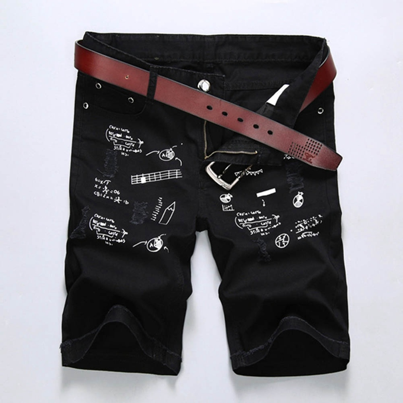 Large Size Men Hole Denim Shorts Male Short Jeans 2018 New Summer Casual Black Short Jea ...