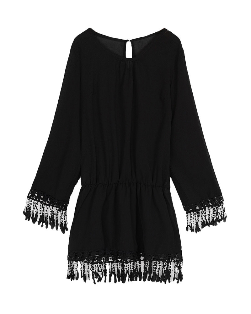 ZANZEA 2017 Summer Women Boho Tassel Lace Dress Sexy Crochet Tunic Beach Party Dresses Black White Chiffion Vestidos Plus Size 27
