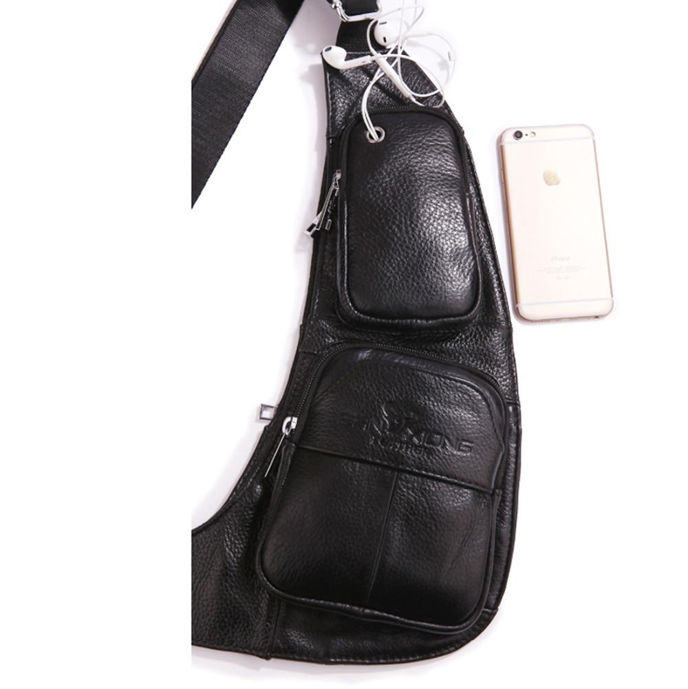 Lëkurë origjinale për burra lëkure burrash Sling Shoulder Cross - Çanta dore - Foto 5