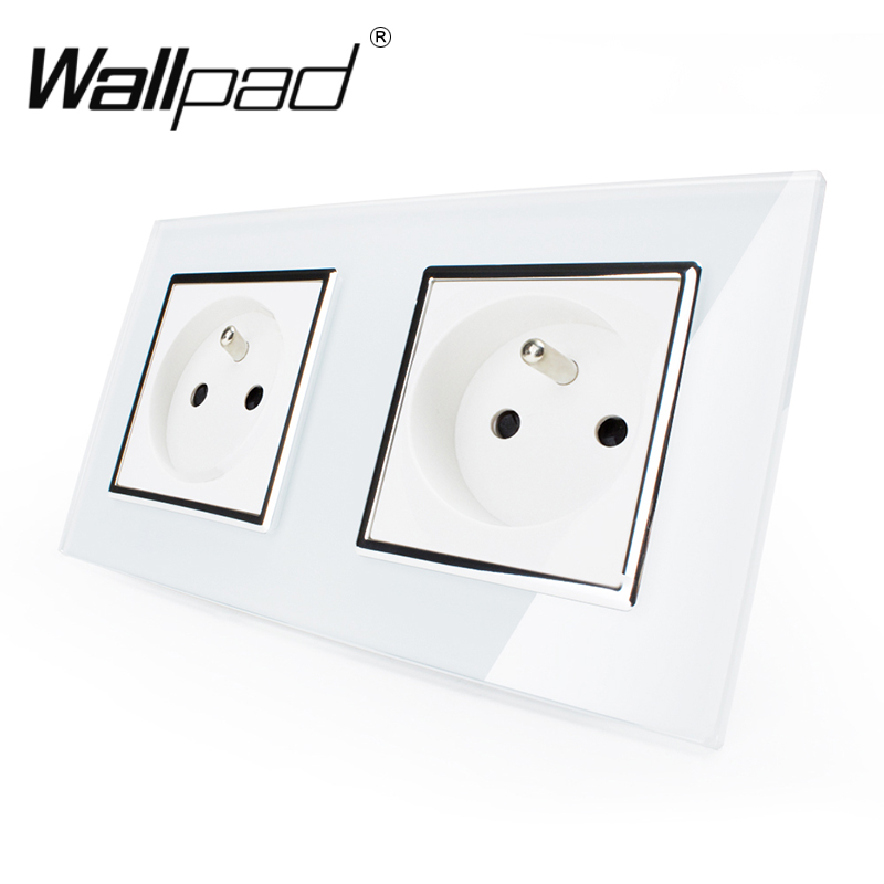 цена на Hot Selling CE Approved Wallpad Luxury Tempered Glass French 156*86mm Double 16A Plug French Socket with Claws Clip Mounting