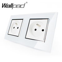 Hot Selling CE Approved Wallpad Luxury Tempered Glass French 156*86mm Double 16A Plug French Socket with Claws Clip Mounting