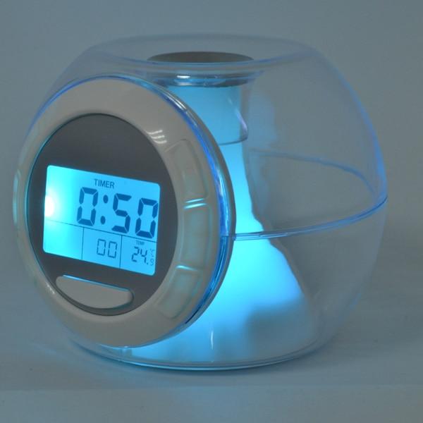 jual panas hadiah terbaik baru yang dipimpin jam alarm 7 warna cahaya dengan suara