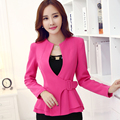 2017 Fashion work wear Jacket Women Foldable long Sleeves V-neck Coat Candy Color feminino Blazer ladies Vogue casual office top