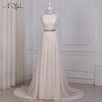 ADLN Sexy Summer Champagne Wedding Dresses Halter Sleeveless Chiffon Beach Wedding Dress Long Vestido De Noiva
