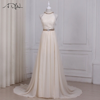 ADLN пикантные летние Шампанское свадебное платье es Холтер рукавов шифоновая пляжная свадебное платье Длинные Vestido De Noiva спинки