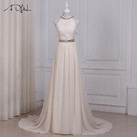 ADLN חתונה שמפניה סקסי קיץ שמלות הלטר שרוולים שיפון חוף שמלות כלה ללא משענת הארוך Vestido De Noiva