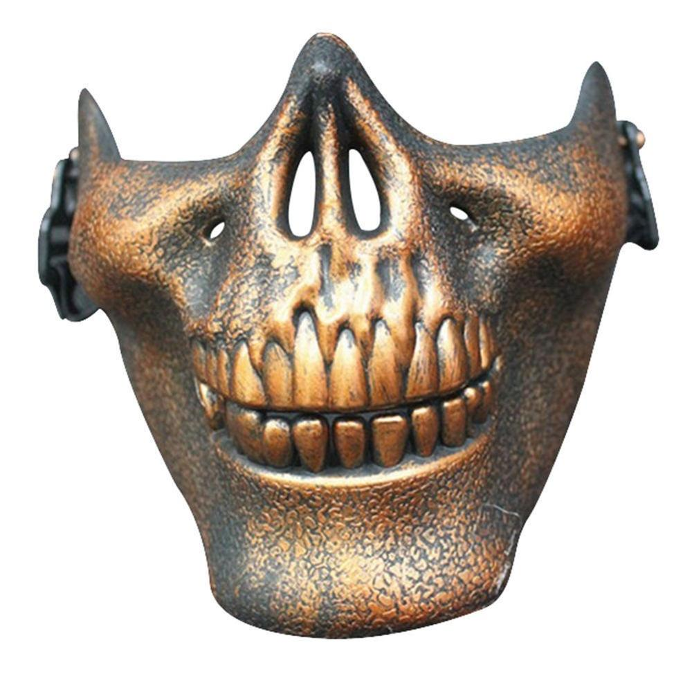 Vehemo костюм Хэллоуин вечерние Страйкбол Череп Маска Мотоцикл Скелет половина лица маски для активного отдыха Decro - Цвет: Коричневый