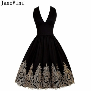 JaneVini 2018 Short Homecoming Dresses Sexy Deep V Neck Gold Lace Appliques Satin Knee Length A Line Bridesmaid Dress Plus Size