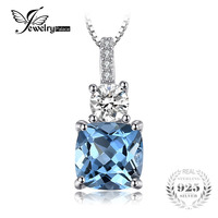 JewelryPalace 2 2ct Cushion Cut Genuine Sky Blue Topaz Pendant Necklace 925 Sterling Silver 18 Inches