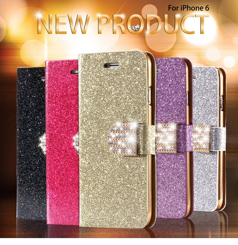 Dla iphone 6 6s plus 7 plus cover glitter bling kryształ diament skórzany portfel case do samsung galaxy s6 edge plus s7 edge torby 1