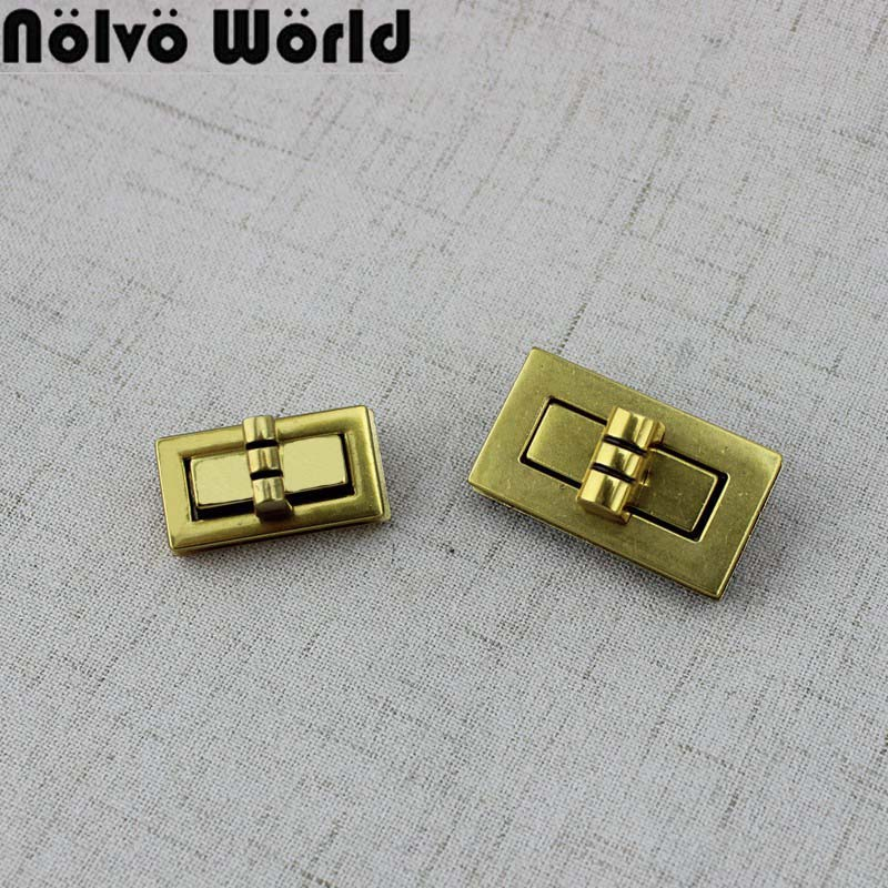 5-20sets High Quality Special Gold  Twist Turn Rectangle Lock For Bag Bright Handbags Hardware Accessories Leather