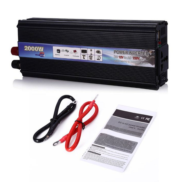 Hot Sale Car Power Inverter 1000W 2000W Watt DC 12V To AC 220V Vehicle Battery Converter Power Supply On-Board Charger Switch
