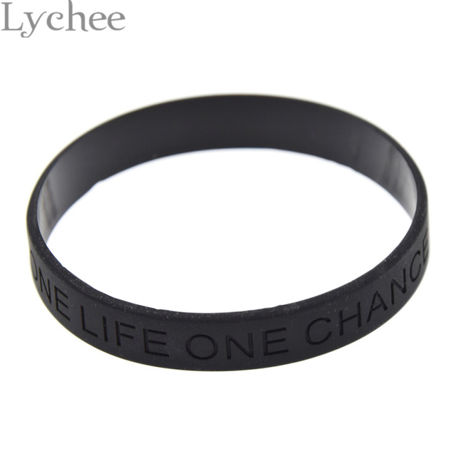 1 piece Debossed Letter One Life One Chance Silicone Wristband Black Rubber Brac