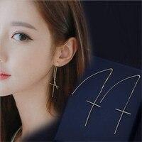 Fashion Sterling Silver The Cross Fine Lines Earring Women Jewelry OL Style YE24